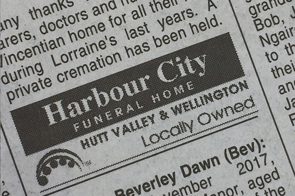 Newspaper Notices | Harbour City Funeral Home »